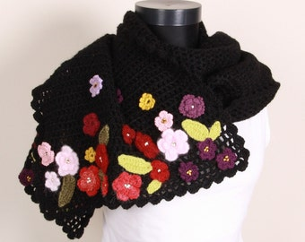 Knit Black,Shawl,Perfect for winter,
