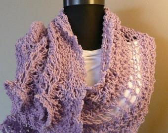 Knit scarf, Lilac,Purple ,Shawl Stole