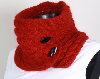 Knitting Neckwarmer ,Red,Black button ,collar scarf