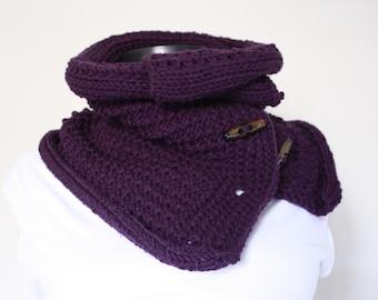 Neckwarmer ,Purple ,collar scarf, Button Neckwarmer  ,cowl