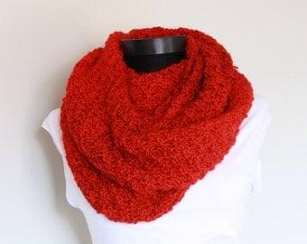 Knit Red Circle Scarf