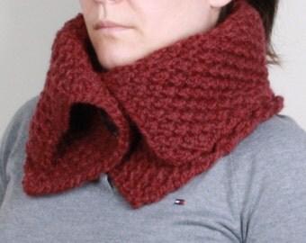 Neckwarmer ,burgundy ,collar scarf,  button.