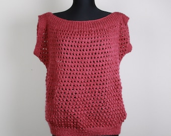 Hand Knitted Sweater, Pink ,old rose, tunic,