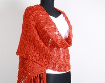 Knitting Red, Shawl,Stole ,Perfect for Spring Summer,