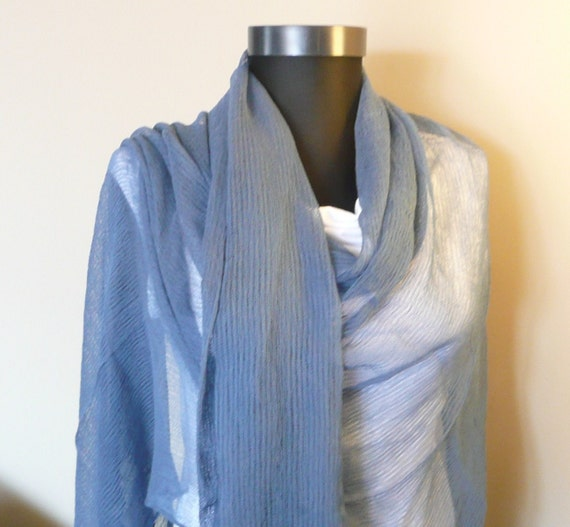 Hand Woven and Hand Dyed, Pure Cotton Shawl...Air Force Blue