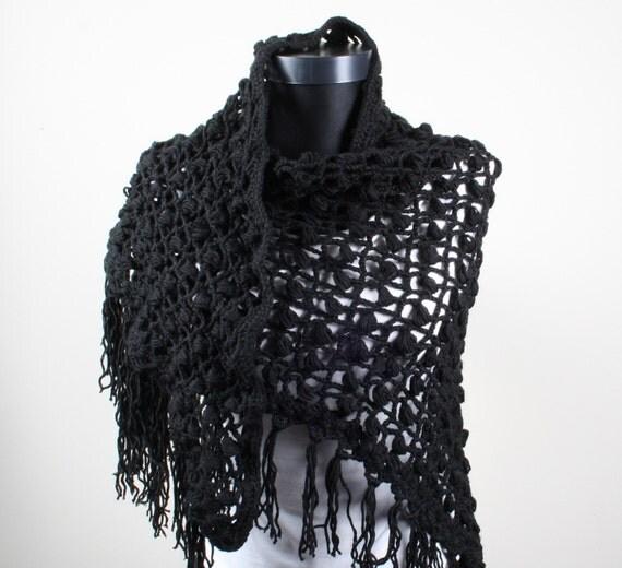 Black, Crochet, Triangle Shawl