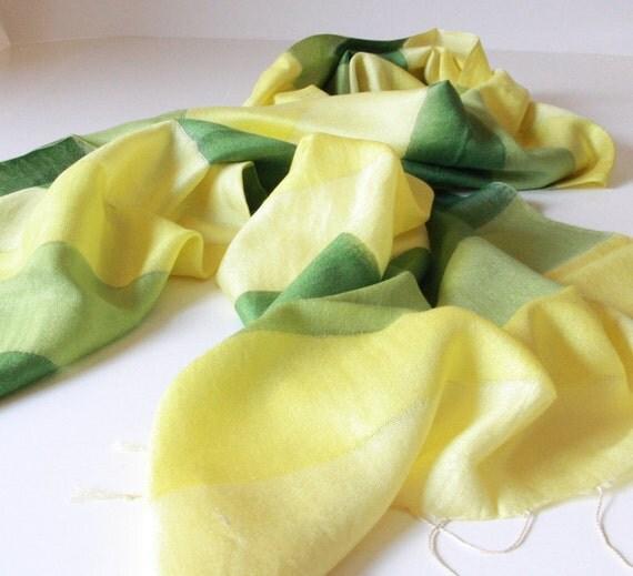Silk and cotton Shawl...Green,Dark green ,Yellow striped Scarf