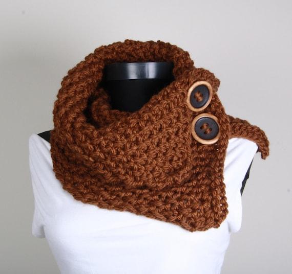 Button knit neckwarmer ,Brown, Collar Scarf