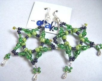 Green Star EARRINGS. Big Green Beaded Pentacle Statement Earrings. Handmade in Ireland, for pierced ears. Bold Fun Pentagrams .925 EMO, Sale