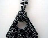 Moretti Murano Glass Murrine Pendant on Black and White Necklace