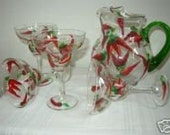 Hand Painted Margarita Glasses and Pitcher Chili Peppers
