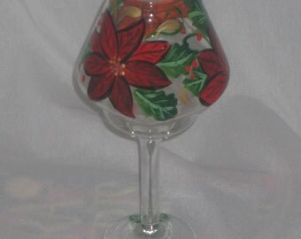 HAND PAINTED TEA LAMP WITH POINSETTIAS