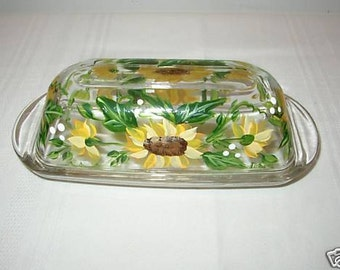 Hand Painted Butter Dish with Sunflowers
