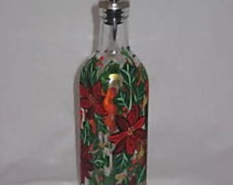 Hand Painted Oil Bottle with Poinsttias
