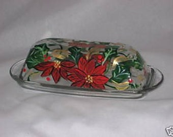 HAND PAINTED BUTTER DISH WITH POINSETTIAS NEW