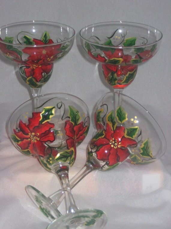 HAND PAINTED MARGARITA GLASSES WITH POINSETTIAS