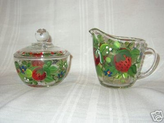 Hand Painted SUGAR & CREAMER with STRAWBERRIES
