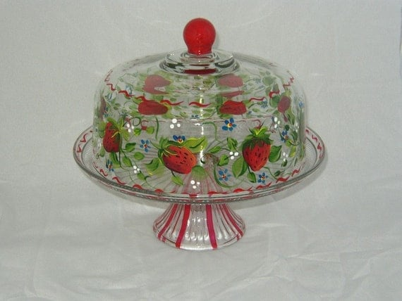 Hand Painted Cake Plate/Punch Bowl with Strawberries
