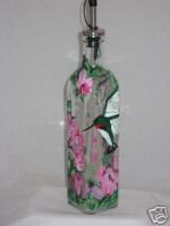 Hand Painted OIL bottle with HUMMINGBIRD & FLOWERS