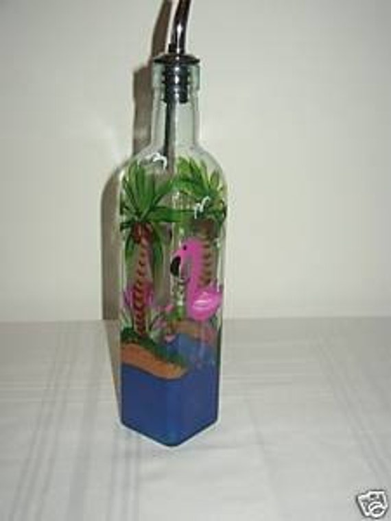 Hand Painted Bottle for Oil or Soap with Flamingos