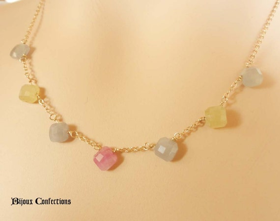 Pink Blue Yellow Natural Sapphires Necklace, 14K Gold Filled