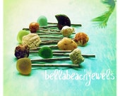TRIO Washed Ashore hair pins by Bella Beach Jewels..coral, shells, sea glass, pearls