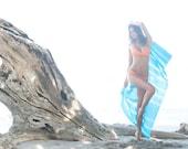 BAHAMA BLUE..tie dye beach throw Pareo by Bella Beach Jewels