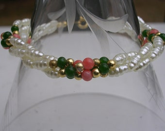 Sweetheart Pearl Bracelet with Coral, Jade and Gold