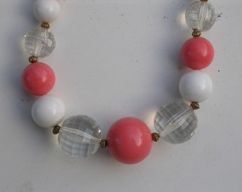 Coral and White Necklace 1950s
