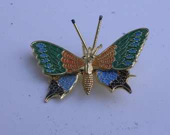 Butterfly Pin Enameled 1950s