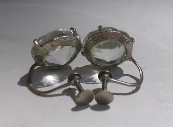 Victorian Faux Diamond Earrings Silver Screwbacks