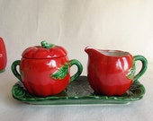 Vintage Tasty Tomato Ware Occupied Japan Cream and Sugar Set with Tray