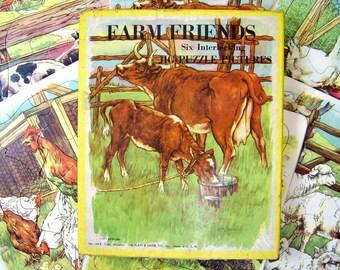 6 Vintage Farm Friends Pets Puzzles Set In Box