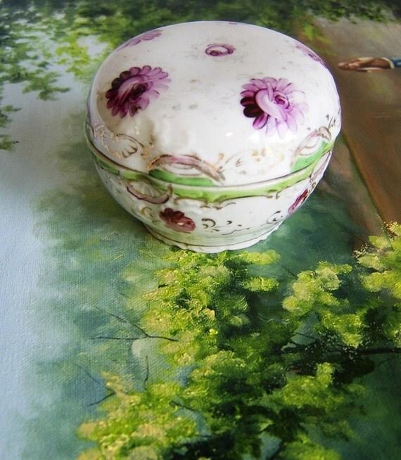 SALE - Lovely Porcelain Antique Trinket - Powder Box