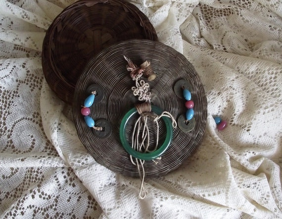 SALE Vintage Woven Sewing Button Basket with Glass Beads