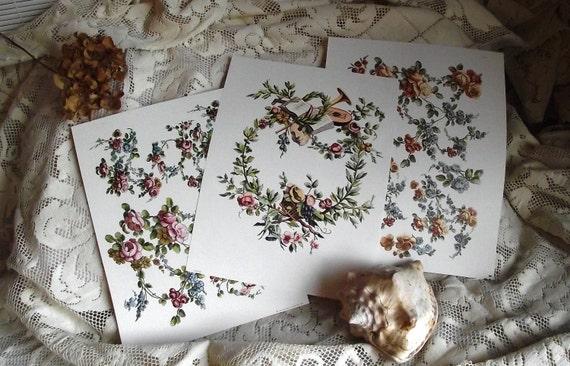 10 Vintage Victorian Floral Collage Scrapbooking Decoupage Prints Instant Collection Lot - Frameable Art