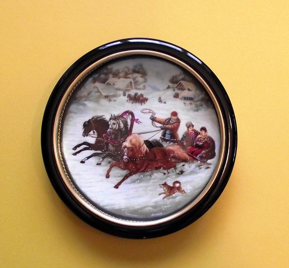 Vintage Russian Snow Sledding Collectors Plate