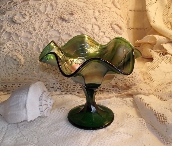 Vintage Fenton Wreath of Roses Green Carnival Glass Compote Candy Dish