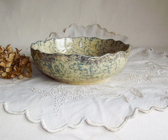 RESERVED - Vintage Farmhouse Spongeware Bowl - Blue Yellow and Gilded