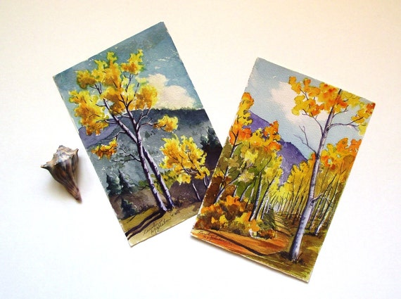 2 Original Vintage 1946 Autumn Watercolor Paintings by Carolyn Appleton