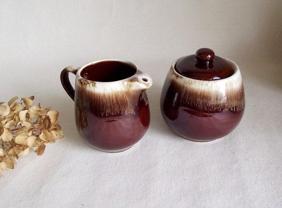 Vintage McCoy Brown Drip Glaze Cream & Sugar Set
