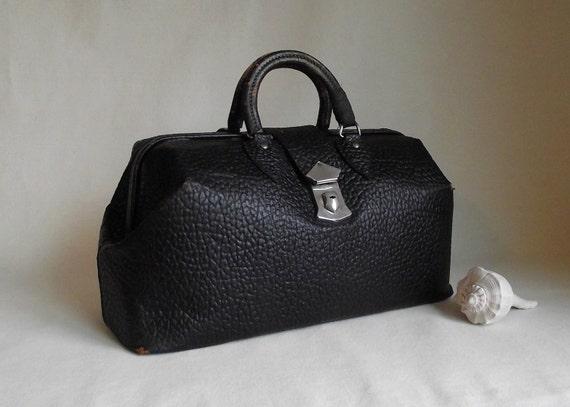 Vintage Black Pebble Textured Leather Doctors Bag