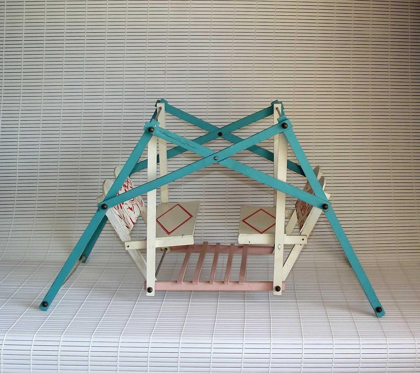 Vintage Swing Your Baby Wooden Toy Doll Glider Swing Set