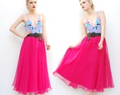 70s Skirt - Sheer Skirt - Chiffon Skirt - Hot Pink Skirt - 1970s Maxi Skirt - High Waist Skirt - Party Skirt - Full Skirt - 2 4 6 8 XS S M