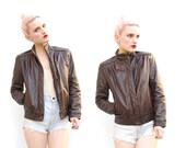 80s Leather Jacket - Leather Moto Jacket - Cafe Racer Jacket - Chocolate Brown Leather - Bomber Jacket - Hipster Jacket - 2 4 XS S