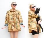 90s Jacket - Cat Tapestry Jacket - Fall Fashion - Cat Lady Jacket - Kitsch Jacket - Tan // Brown Jacket - S M 6 8 10 12