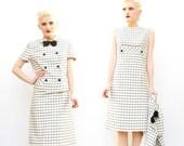 60s Dress Suit - Office Fashion - Black and White Plaid Dress - 1960s Mad Men Dress - Spring Fashion - Wiggle Dress - Sandra Sage - 2 4 XS S