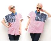 90s American Flag Shirt - Oversized Shirt - Chambray Shirt - Colorblock Shirt - Punk Striped - Short Sleeved - S M L 6 8 10 12 14