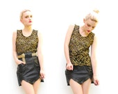 80s Tank Top - Black Lace Tank Vest - Black Metallic Gold Lace - Glam Sheer Top - 1980s Floral Lace Tank Top - S M 2 4 6