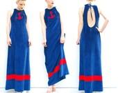 70s Maxi Dress - Anchor Dress - 1970s Nautical Dress - Keyhole Halter Dress - Summer Fashion - Navy // Red 1970s Dress -  S 2 4 6